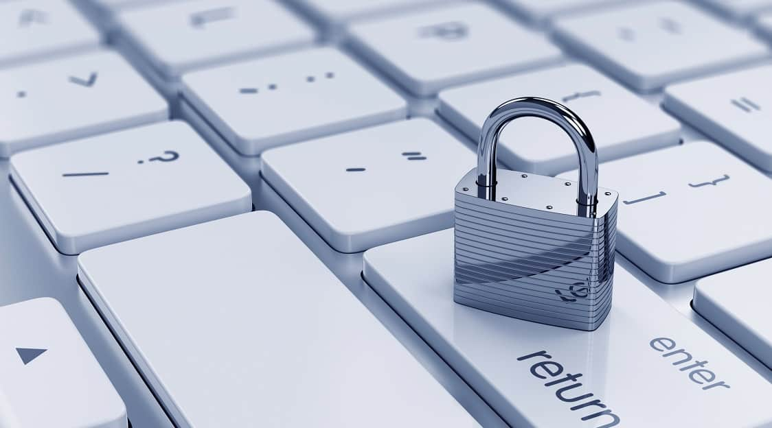 3d illustration of chrome padlock on the computer keyboard. Security concept